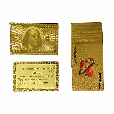 24K Gift Karat Gold Foil Plated Poker Playing Card With Wood Box And Certificate