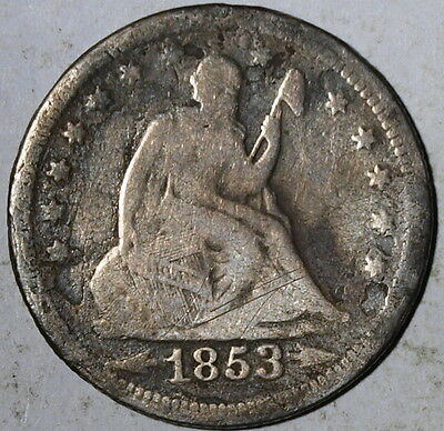 1853  US Seated Liberty Silver Quarter, Arrows & Rays, VG !