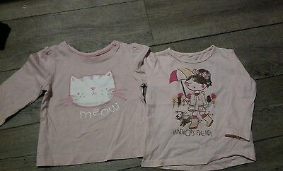 lot 2 t-shirts fille rose 12 mois TBE