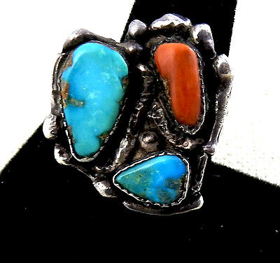Best! Stunning Navajo Old Gorgeous Natural Bisbee Turquoise  & Coral Ring Size 9