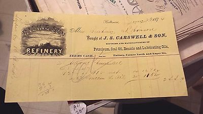 """Collectible Dated 1874 Bill Head """"J.S.CARSWELL & SON"""" Refinery-Baltimore,Md."""