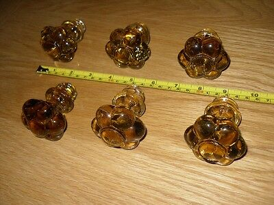 set of 6 victorian Amber glass drawer knobs, vgc.