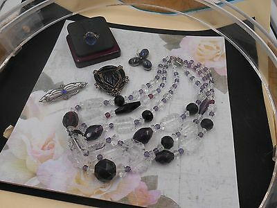 Estate Jewelry Antique Lot Lovely Beads Sterling Pin Old China Clip Deco Ring +