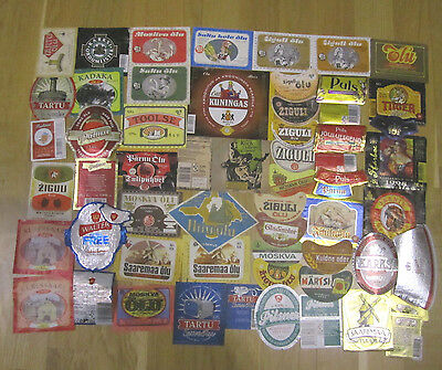 Lot of Estonian Beer Labels, used