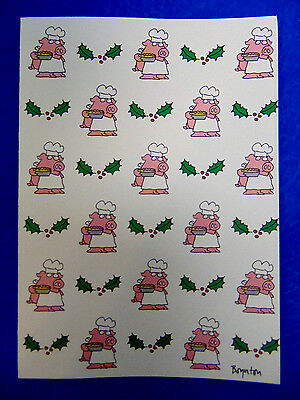 """Recycled BOYNTON 18 Christmas Greeting Cards & Envelopes """"Hogs and Quiches"""" PIGS"""
