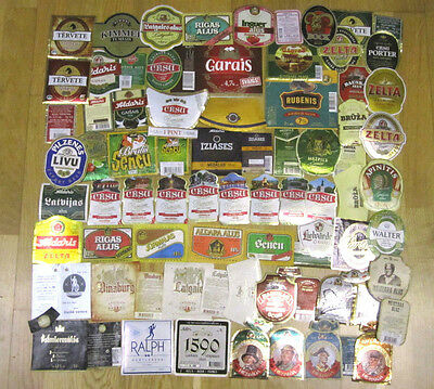 Lot of Latvian Beer Labels, used