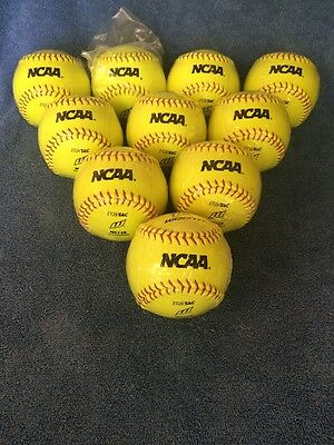 """Lot Of 10 Worth Softie 12"""" NCAA Practice Fastpitch Softballs NC12S NEW IN WRAP"""