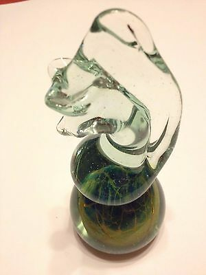 Vintage Signed Maltese Mdina Art Glass Seahorse Paperweight 6 inch
