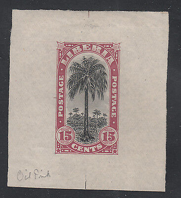 Liberia # 167 1918 MINT Die Proof in Oil Pink BLACK Center Flora Oil Palm