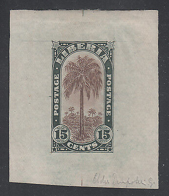 Liberia # 167 1918 MINT Die Proof in Green BROWN Center Flora Oil Palm