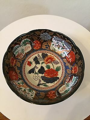 Vintage Japanese Imari Hand Painted Scalloped Bowl Gorgeous Hand Painted Signed