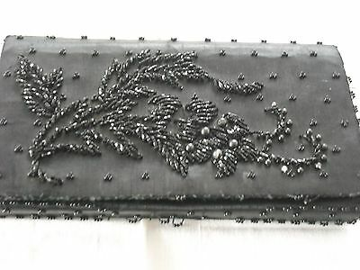 Vintage 1950s Embroidered Black Beaded Women's Satin Lined Clutch Purse