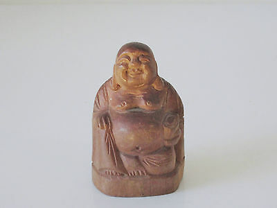 Antique Chinese Carved Wooden Statue of Buddha - Great Character - Circa 1920