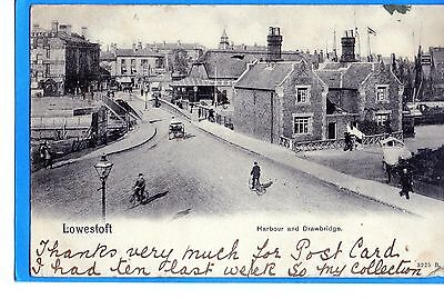 Lowestoft  Harbour And Drawbridge  Publ By Pictorial Stationery Co  Posted 1910