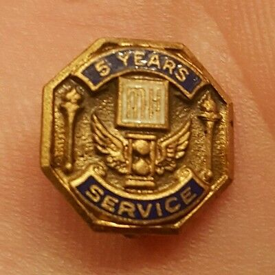 Rare Vintage Mh Unknown 5 Year Service Award Pin Winged Hourglass Whitehead Hoag
