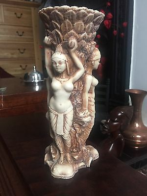 Indian Nautch Dancers Vase Old Heavy Resin