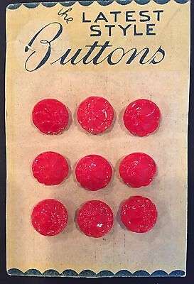 Vintage Glass Buttons - 1930's 9 Red Glass Flower Buttons