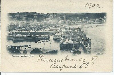 ROTHESAY Looking West Bute 1902 Postcard Undivided back Shipping