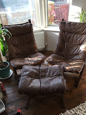 2x 1970s Norwegian Brown Leather Siesta Chairs And Footstool In Need Of TLC