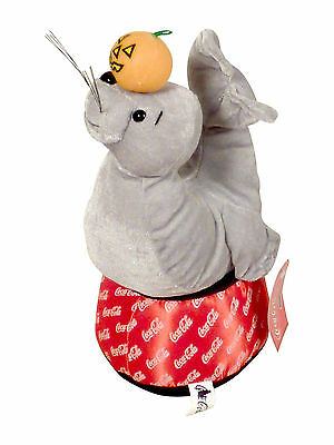 """Coca Cola Gray Seal With A Pumpkin On His Nose On A Red Bottom Soft Plush  11"""""""