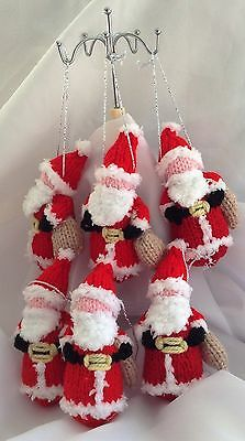 6 Hand Knitted Christmas Tree Decorations - NEW father christmas santa