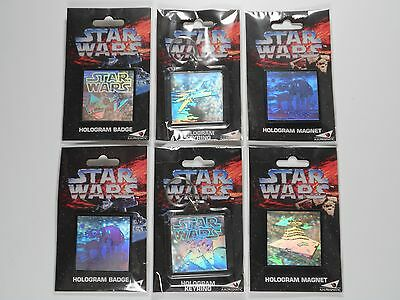 Lot of 6 STAR WARS 1994 HOLOGRAPHIC BADGES, KEYRINGS & MAGNETS by A.H.Prismatics