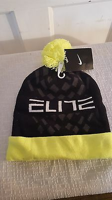 Nike Elite Youth Pom Cuffed Cold Weather Knit Beanie Hat, Neon Yellow/Black