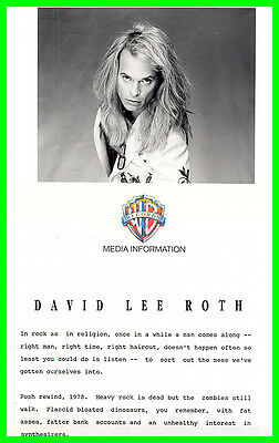 David Lee Roth 1990 Press Kit w/Photo Warner Brothers A Little Ain't Enough