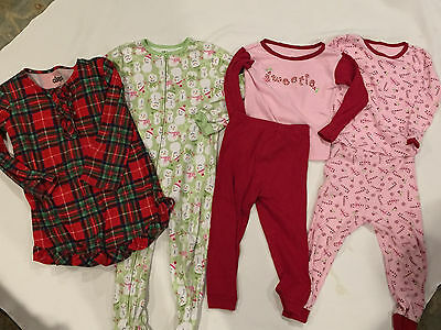 Toddler Girls Christmas Holiday Pajamas 4 pairs 3T Snowmen Candy Cane Carters
