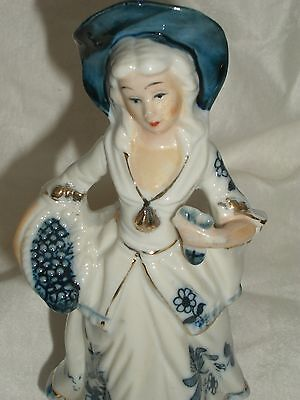 Vintage Porcelain Blue And White Figurine Of A Lady