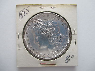 1885-P AU Almost Uncirculated DETAILS, MORGAN SILVER DOLLAR