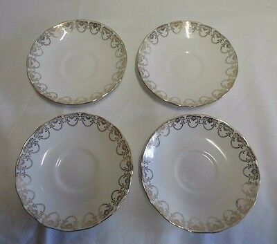 Queen Anne Ridgeway Fine English bone china set of 4 Saucers -white and gold