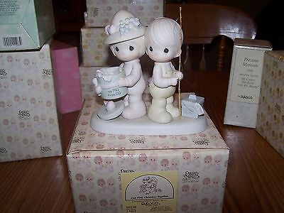 """Precious Moments """"Our First Christmas Together"""" boy girl couple figurine fishing"""