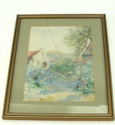 20thC Watercolour Painting Village Street - Landscape Framed Picture Signed