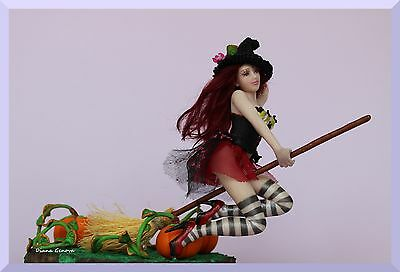 Witch, 1:12, Arabella,OOAK art doll, hand sculpted,polymer clay, by Diana Genova
