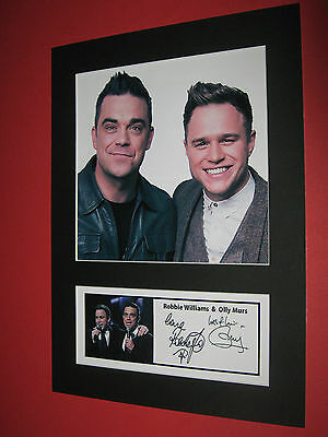 Robbie Williams & Olly Murs A4 Photo Mount Signed Pre-Printed Ticket Cd