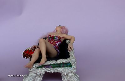 1:12 scale fairy Camellia, OOAK doll,hand sculpted,polymer clay, by Diana Genova