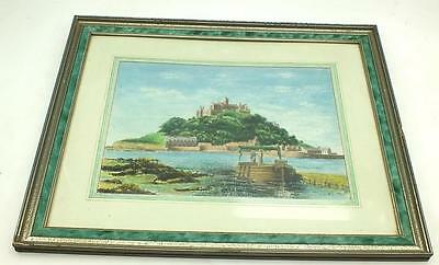 20thC Watercolour Painting Castle Next to Sea  - Picture Framed & Luglie 94