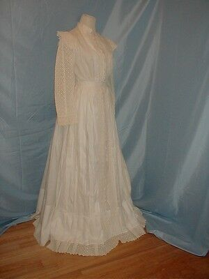 Antique 1890 Dress White Cotton and Eyelet