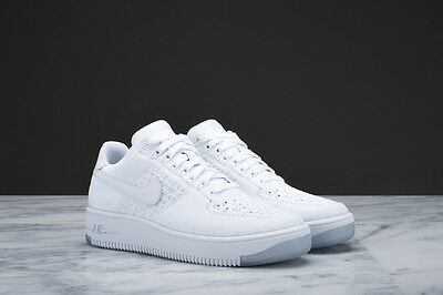 Womens Nike Air Force 1 Af1 Flyknit Shoes Triple White 820256-101 Double Boxed