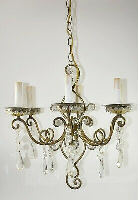 Vintage Italian Brass and Glass Chandelier Light Fixture