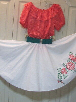 2195 Pink/Orange Blouse with White Painted Flowers Skirt, Belt & Tie, S