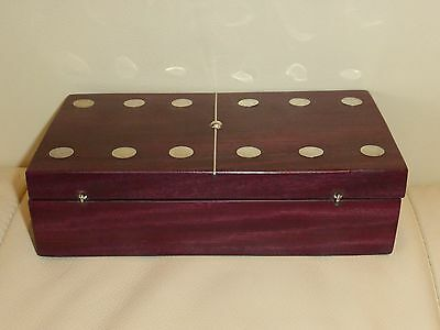 Mexico .925 Sterling Silver Mahogany Wood Boxed Domino Set