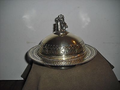 Antique Silver Plate Butter Dish Girl With Churn Finial 1860