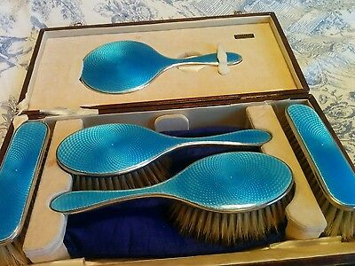 Rare Art Deco Silver hallmarked  blue basse-taille enamel brush set 1927 Salaman