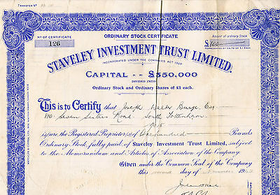 Staveley Investment Trust Limited Share Certificate 1942 Share Capital £350000