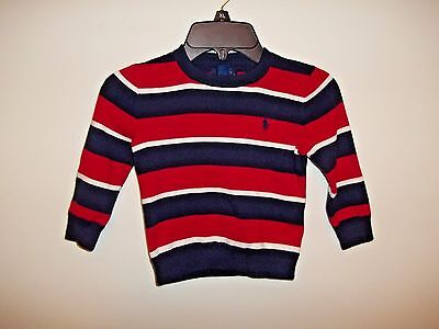 POLO RALPH LAUREN SIGNATURE CREWNECK BOY'S SWEATER Sz. 2/2T Blue/Red NWT