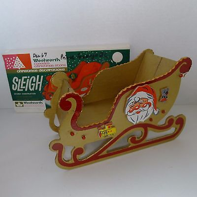 Woolworth Wooden Santa Sleigh Christmas Decoration Fold Out/Up Japan 1960's