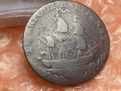 1791 Liverpool Ship Colonial Halfpenny Trade Token Lettered Edge #2