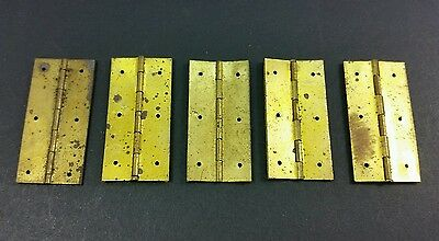 "5 small antique tiny brass old hinges solid brass 1 1/2"" x 13/16"" jewelry box"